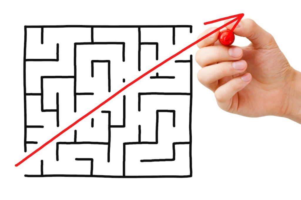 Maze showing TEM outsourcing avoids complexity